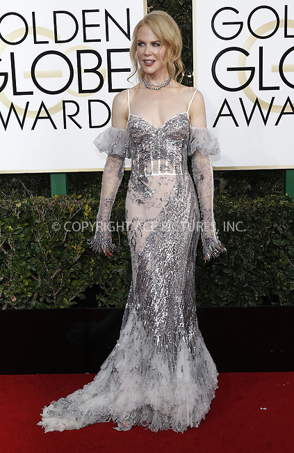 www.acepixs.com<br /> <br /> January 8 2017, LA<br /> <br /> Nicole Kidman arriving at the 74th Annual Golden Globe Awards at the Beverly Hilton Hotel on January 8, 2017 in Beverly Hills, California.<br /> <br /> By Line: Famous/ACE Pictures<br /> <br /> <br /> ACE Pictures Inc<br /> Tel: 6467670430<br /> Email: info@acepixs.com<br /> www.acepixs.com