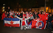 2nd November 2017, Emirates Stadium, London, England; UEFA Europa League group stage, Arsenal versus Red Star Belgrade; Large group of Red Star Belgrade fans posing outside Emirates Stadium before kick off