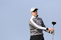 Thomas Higgins (Roscommon) on the 1st tee during Round 3 of The West of Ireland Open Championship in Co. Sligo Golf Club, Rosses Point, Sligo on Saturday 6th April 2019.<br /> Picture:  Thos Caffrey / www.golffile.ie