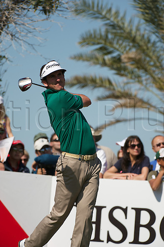 19.01.2013 Abu Dhabi, United Arab Emirates. Gonzalo Fdez Catano in action during the European Tour HSBC Golf championship  third round from the Abu Dhabi Golf Club.
