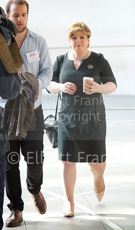 Andrew Marr Show <br /> departures <br /> BBC, Broadcasting House, London, Great Britain <br /> 9th April 2017 <br /> <br /> Emily Thornberry<br /> Shadow Foreign Secretary<br /> <br /> <br /> Photograph by Elliott Franks <br /> Image licensed to Elliott Franks Photography Services