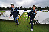 Cricket - ODI Summer Tri-Series - Scotland V Ireland V Sri Lanka at Grange CC - Edinburgh - heavy overnight rain and constant drizzle has delayed the start of the first match of the series between Ireland and Sri Lanka, here with the covers going back on - Picture by Donald MacLeod - 11.07.11 - 07702 319 738 - www.donald-macleod.com