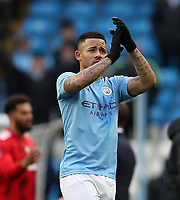 26th January 2020; Etihad Stadium, Manchester, Lancashire, England; English FA Cup Football, Manchester City versus Fulham; Gabriel Jesus of Manchester City applauds the supporters at he end of the match