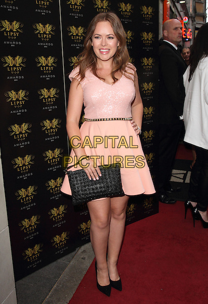 Tanya Burr<br /> Lipsy VIP Fashion Awards at DSTRKT, London, England.<br /> May 29th 2013<br /> full length pink dress clutch bag black<br /> CAP/ROS<br /> &copy;Steve Ross/Capital Pictures