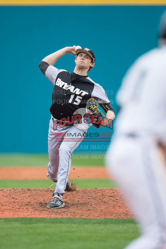Bryant Bulldogs starting pitcher Kyle Wilcox (15) in action against the Coastal Carolina Chanticleers at Springs Brooks Stadium on March 13, 2015 in Charlotte, North Carolina.  The Chanticleers defeated the Bulldogs 7-2.  (Brian Westerholt/Four Seam Images)