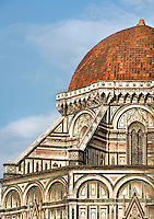 Cathedral Santa Maria del Fiore, Florence, Italy , also known as the Duomo, begun in 1296 by Arnolfo di CAMBIO, dome by Filippo BRUNELLESCHI, 1377-1446, completed in 1436. Detail of small dome supported by polychrome marble buttresses at the foot of the main dome pictured on June 8 2007.