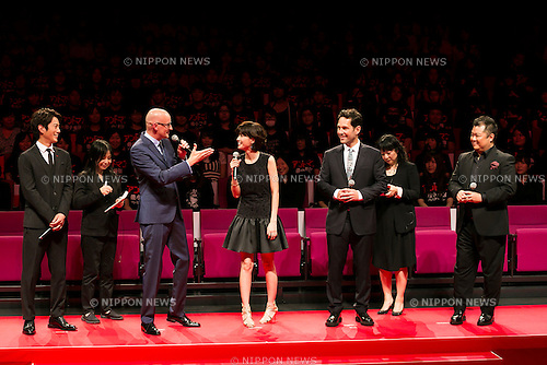(L to R) Actor Junpei Mizobata, film director Peyton Reed, actress Yuki Uchida, actor Paul Rudd and comedian Ryuichi Kosugi speak during the Japanese premiere of the film Ant-Man in downtown Tokyo, September 15, 2015, Tokyo, Japan. Rudd and director Peyton Reed, and the film's Japanese voice actors appeared on the stage at the premiere to greet fans. The movie will be released in Japan on September 19th. (Photo by Rodrigo Reyes Marin/AFLO)