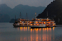Ships anchored for the night in Halong Bay, North Vietnam. The bay features 3,000  limestone and dolomite karsts and islets in various shapes and sizes sprinkled over 1,500 square kilometers. It offers a wonderland of karst topography. It is a UNESCO World Heritage Site.