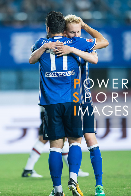 FC Schalke Midfielder Luke Hemmerich (R) celebrating his score with FC Schalke Midfielder Yevhen Konoplyanka (L) during the Friendly Football Matches Summer 2017 between FC Schalke 04 Vs Besiktas Istanbul at Zhuhai Sport Center Stadium on July 19, 2017 in Zhuhai, China. Photo by Marcio Rodrigo Machado / Power Sport Images