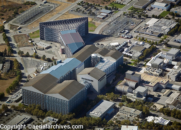 aerial photograph wind tunnel, Moffett Field, Mountain View San Clara county, California