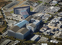 aerial photograph of the wind tunnel at Moffett Field, Mountain View, San Clara county, California