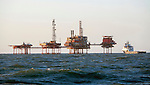 Oil rigs and ship in the North Sea
