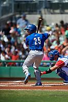 Rancho Cucamonga Quakes third baseman Rylan Bannon (25) at bat during a California League game against the Stockton Ports at Banner Island Ballpark on May 17, 2018 in Stockton, California. Stockton defeated Rancho Cucamonga 2-1. (Zachary Lucy/Four Seam Images)