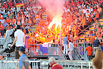 The Hague, Netherlands, June 06: Bengalo fires within the stands of the dutch fans during the second half during the field hockey group match (Men - Group B) between Germany and The Netherlands on June 6, 2014 during the World Cup 2014 at Kyocera Stadium in The Hague, Netherlands. Final score 0-1 (0-1) (Photo by Dirk Markgraf / www.265-images.com) *** Local caption ***