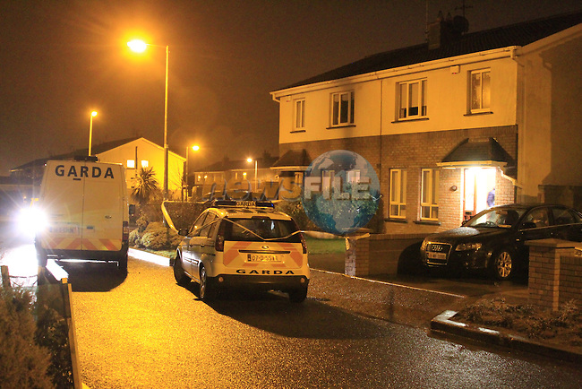 The scene of the shooting in Inse Bay in Laytown Co Meath late on Saturday Evening. Shots were fired into the front of the house, No one is believed to be injured, Gardai have the scene sealed off awaiting a technical examination..Picture: Fran Caffrey / www.newsfile.ie.