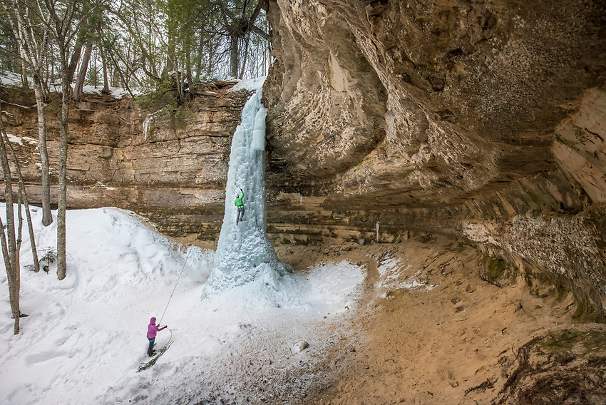Ice climbing at the Dryer Hose ice formation at Pictured Rocks National Lakeshore near Munising, Michigan.