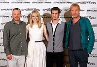 "Da sinistra: il regista statunitense Marc Webb, l'attrice statunitense Emma Stone,  l'attore statunitense Andrew Garfield, l'attore britannico Rhys Ifans posano durante il photocall per la presentazione del film ""The Amazing Spider-Man"", a Roma, 22 giugno 2012..From left: U.S. director Marc Webb, U.S actress Emma Stone, U.S. actor Andrew Garfield and British actor Rhys Ifans during the photocall for the presentation of the movie ""The Amazing Spider-Man"" in Rome, 22 june 2012..UPDATE IMAGES PRESS/Isabella Bonotto"
