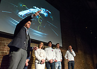 Jake Humphrey, Claire Williams, Lance Stroll, Sergey Sirotkin and Robert Kubica during the Williams 2018 F1 Car Launch at Villiage Underground, London, England on 15 February 2018. Photo by Vince  Mignott.