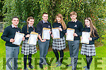 L-R Denis Sendreji, Kate Stack, Gavin O'Leary, Amy Lucey, Leonard Gamble and Megan Leahy from Killarney Community College pictured after collecting their Junior Leaving Cert results last Wednesday morning.