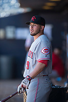 Scottsdale Scorpions infielder Blake Trahan (9), of the Cincinnati Reds organization, during a game against the Peoria Javelinas on October 19, 2017 at Peoria Stadium in Peoria, Arizona. The Scorpions defeated the Javelinas 13-7.  (Zachary Lucy/Four Seam Images)