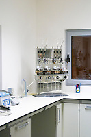 Laboratory equipment in the winery. Henrque HM Uva, Herdade da Mingorra, Alentejo, Portugal