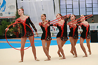 USA Senior Group performs with hoops + clubs at 2007 Genoa World Cup of Rhythmic Gymnastics Groups on June 9, 2007 at Genoa, Italy.  (Photo by Tom Theobald)