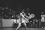 Billie Jean King in a tennis match at the Nassau Veterans Memorial Coliseum, Uniondale, NY.  Photo by Jim Peppler. Copyright/Jim Peppler/.