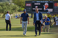 Champion Andrew Landry (USA) approaches the trophy presentation on 18 following Round 4 of the Valero Texas Open, AT&amp;T Oaks Course, TPC San Antonio, San Antonio, Texas, USA. 4/22/2018.<br /> Picture: Golffile | Ken Murray<br /> <br /> <br /> All photo usage must carry mandatory copyright credit (&copy; Golffile | Ken Murray)