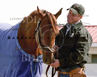 John Servis with Smarty Jones, at Philadelphia Park, May 8, 2004.  © 2004 Barbara D. Livingston. All rights reserved. easygoer78@aol.com