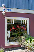 Old-fashioned barber shop on  Bowen Island near Vancouver, British Columbia, Canada