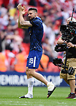 Olivier Giroud of Chelsea with his iced left ankle thanks the fans at the end of the FA cup semi-final match at Wembley Stadium, London. Picture date 22nd April, 2018. Picture credit should read: Robin Parker/Sportimage