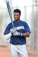 Monte Harrison #8 of the AZL Brewers before a game against the AZL Reds at the Cincinnati Reds Baseball Complex on July 5, 2014 in Goodyear, Arizona. (Larry Goren/Four Seam Images)