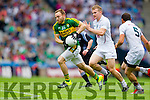 Darran O'Sullivan, Kerry in action against Peter Kelly, Kildare in the All Ireland Quarter Final at Croke Park on Sunday.