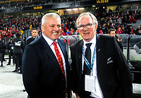 Lions coach Warren Gatland chats with NZ Rugby chairman Brent Impey (right) after the 2017 DHL Lions Series rugby union 3rd test match between the NZ All Blacks and British & Irish Lions at Eden Park in Auckland, New Zealand on Saturday, 8 July 2017. Photo: Dave Lintott / lintottphoto.co.nz