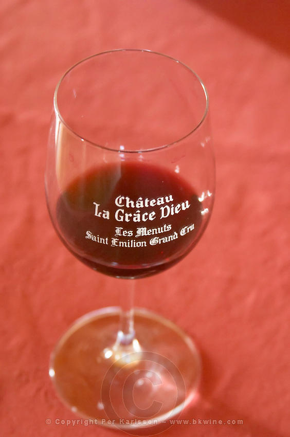 Wine glasses. Chateau la Grace Dieu les Menuts, Saint Emilion, Bordeaux, France