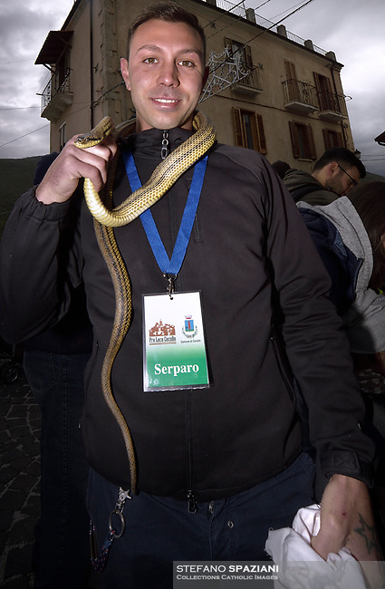"""A snake, a boy who catches snakes, with snakes in hand before the procession..The feast of snakes. Process dedicated to the Saint Dominic, in the streets of Cocullo, in the Abruzzo region, Italy on May 1, 2019.<br /> <br /> <br /> <br /> The St. Domenico's procession in Cocullo, central Italy. Every year on the first  of May, snakes are placed onto the statue of St. Domenico and then the statue is carried in a procession through the town. St. Domenico is believed to be the patron saint for people who have been bitten by snakes:<br /> <br /> Italy, Cocullo, in the Province of L'A...quila, is at 870 meters a.s.l., along the railway line connecting Sulmona to Rome. The village rises alongside Mount Luparo (1327 meters) """"The valley opening in front of the village is surrounded by bare rocks, while on the other side, to the south, snow-capped mountain crests follow one after the other...""""<br /> San Domenico Abate lived in the 10th and 11th centuries AD. Born in Foligno, in the Umbria region, he started his pilgrimages, preaching and ascetic practices in Central Italy, making miracles recorded by the word-of-mouth tradition. He died on 22 January 1031 and was buried in Sora.<br /> <br /> Cocullo snake charmers are over with their snake hunting. They proceeded through the During the procession on the first in May, before the snakes are placed all over the statue of St. Dominick, they will be fed with milk kept in containers with crusca. It is the snake that, most of all other elements, expresses an ancestral myth: the unknown aspect and unpredictability of the natural environment with man's innate need to achieve the dominance on his own habitat. <br /> <br /> Snakes and wolves were the emblems of Italic peoples like the Marsians and Irpinians. Some areas in Abruzzo, especially in the Sagittario valley, were under the menace of wolves and snakes, which for the local populations represented the uncertainty and anxiety of their existence that, together with the precariousnes"""