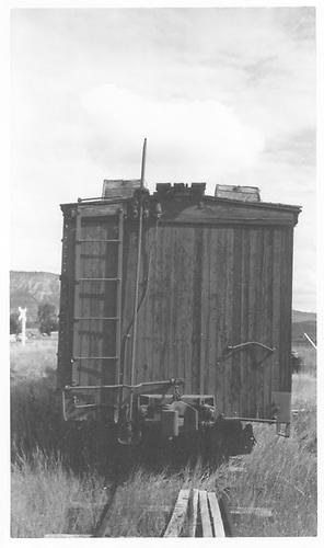 B-end of RGS reefer #2101 on Ridgway deadline.<br /> RGS  Ridgway, CO  Taken by Maxwell, John W. - 8/3/1961
