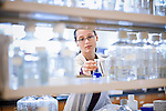 Female biotechnology lab researcher on location for BioMarin's annual report.