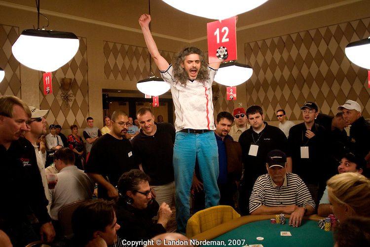 Barry Paskin, from London, England, competes in the 36th annual World Series of Poker at the Rio on Sunday July 10, 2005 in Las Vegas, Nevada. Approximately 5,600 players are competing for a chance to win the first-place prize of roughly $7.5 million. (Photo by Landon Nordeman/Getty Images)