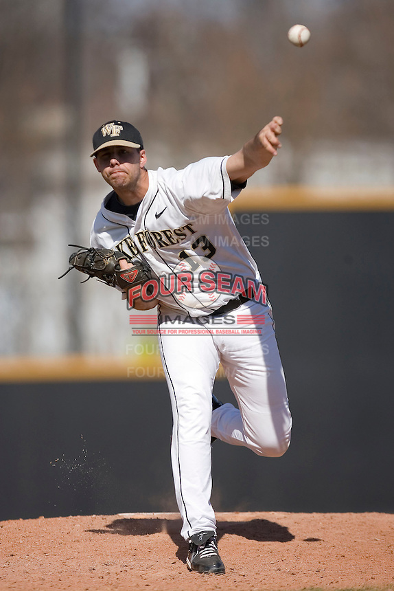 Alex Wiesner #13 of the Wake Forest Demon Deacons in action versus the Virginia Cavaliers at Wake Forest Baseball Park March 8, 2009 in Winston-Salem, NC. (Photo by Brian Westerholt / Four Seam Images)