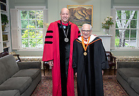 Jonathan Veitch, President and John G. Power '58, Trustee.<br /> Families, friends, faculty, staff and distinguished guests celebrate the class of 2019 during Occidental College's 137th Commencement ceremony on Sunday, May 19, 2019 in the Remsen Bird Hillside Theater.<br /> (Photo by Marc Campos, Occidental College Photographer)