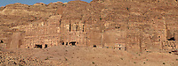 Royal tombs, 1st century AD, Petra, Ma'an, Jordan. These tombs were carved by the Nabateans for their Kings in the face of Jabal al-Khubtha, the mountain overlooking Petra on the East. Petra was the capital and royal city of the Nabateans, Arabic desert nomads. Picture by Manuel Cohen