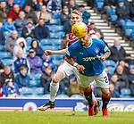 22.04.2018 Rangers v Hearts: Daniel Candeias scores with a diving header