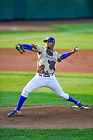 Ogden Raptors starting pitcher Roberth Fernandez (34) delivers a pitch to the plate against the Great Falls Voyagers in Pioneer League action at Lindquist Field on August 18, 2016 in Ogden, Utah. Ogden defeated Great Falls 10-6. (Stephen Smith/Four Seam Images)