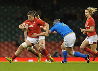Wales Sioned Harries bursts past Italy&rsquo;s Lucia Gai<br /> <br /> Photographer Ian Cook/CameraSport<br /> <br /> 2018 Women's Six Nations Championships Round 4 - Wales Women v Italy Women - Sunday 11th March 2018 - Principality Stadium - Cardiff<br /> <br /> World Copyright &copy; 2018 CameraSport. All rights reserved. 43 Linden Ave. Countesthorpe. Leicester. England. LE8 5PG - Tel: +44 (0) 116 277 4147 - admin@camerasport.com - www.camerasport.com