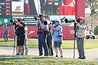 Some photographers during Round 4 of the Abu Dhabi HSBC Championship at the Abu Dhabi Golf Club, Abu Dhabi, United Arab Emirates. 19/01/2020<br /> Picture: Golffile | Thos Caffrey<br /> <br /> <br /> All photo usage must carry mandatory copyright credit (© Golffile | Thos Caffrey)