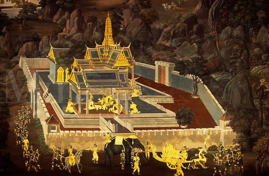 Thailand. Bangkok. Wat Phra Keo. Mural depicting the Ramayana epic.