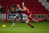 Lincoln City's Matt Green battles with Accrington Stanley's Matthew Platt<br /> <br /> Photographer Andrew Vaughan/CameraSport<br /> <br /> The EFL Checkatrade Trophy Second Round - Accrington Stanley v Lincoln City - Crown Ground - Accrington<br />  <br /> World Copyright &copy; 2018 CameraSport. All rights reserved. 43 Linden Ave. Countesthorpe. Leicester. England. LE8 5PG - Tel: +44 (0) 116 277 4147 - admin@camerasport.com - www.camerasport.com