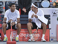 BOGOTÁ -COLOMBIA. 20-07-2013. Purav Raja (IND)(I)/ Dijiv Sharan (IND)(D) durante el juego contra Edouard Roger-Vasselin (FRA)/Igor Sijsling (HOL) en dobles en final del ATP Claro Open Colombia 2013 realizado hoy en el Centro de Alto Rendimiento en la ciudad de Bogotá. La pareja de indues ganaron en el torneo ATP tour 250 en la categoría de dobles. / Purav Raja (IND)(L)/ Dijiv Sharan (IND)(R)   during match against Edouard Roger-Vasselin (FRA)/Igor Sijsling (HOL) on the final of the ATP Claro 2013 today at Centro Alto Rendimiento in Bogota city. The  hindu couple won the first place on the ATP tour 250 in doubles category. Photo: VizzorImage / Str