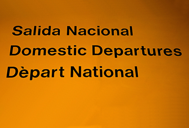Trilingual sign, Cancun International Airport, Cancun, Quintana Roo State, Yucatan Peninsula, Mexico, North America